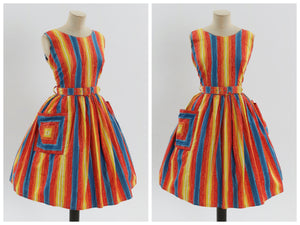 Vintage 1950s original rainbow stripe cotton dress UK 10 US 6 S M