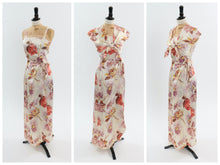 Load image into Gallery viewer, Vintage 1930s 1940s original 3 pc satin floral print outfit top blouse n skirt UK 6 US 2 XS