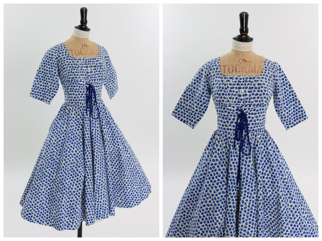 Vintage 1950s original California Cottons floral print cotton dress UK 10 US 6 S M