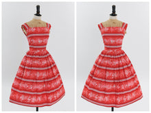 Load image into Gallery viewer, Vintage 1950s original red and pink novelty stripe print cotton dress UK 6 8 US 2 4 XS S