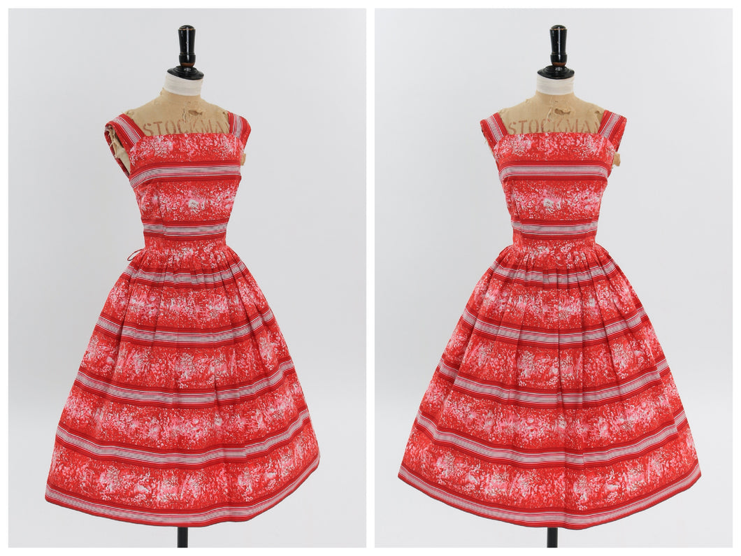 Vintage 1950s original red and pink novelty stripe print cotton dress UK 6 8 US 2 4 XS S