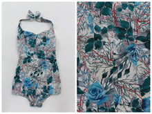 Load image into Gallery viewer, Vintage 1950s original rose print cotton swimsuit UK 8 10 US 4 6 S