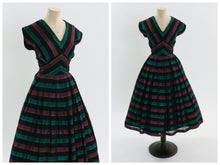Load image into Gallery viewer, Vintage 1950s original metallic stripe cocktail party dress UK 8 10 US 4 6 S