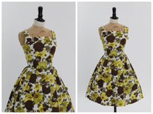 Load image into Gallery viewer, Vintage 1950s original brown and yellow rose floral print cotton dress UK 8 10 US 4 6 S