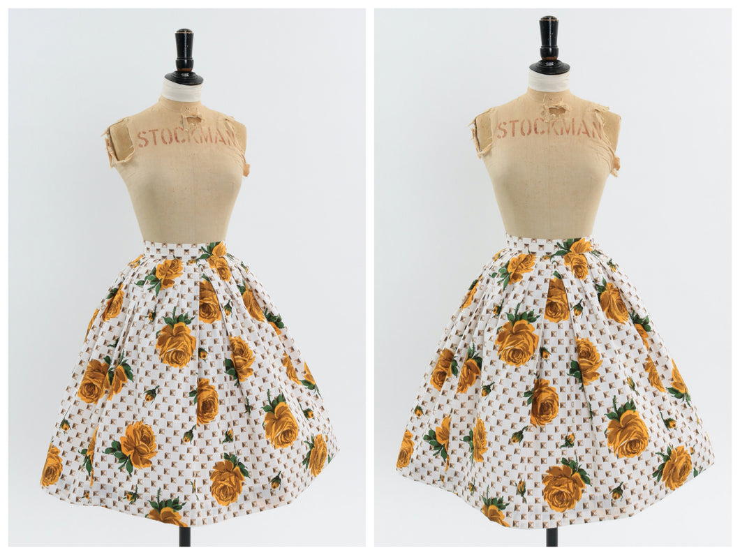 Vintage 1950s original yellow rose print cotton skirt UK 6 US 2 XS