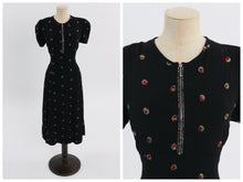 Load image into Gallery viewer, Vintage 1940s original black crepe embroidered dress w rhinestone accented zip S M