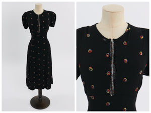 Vintage 1940s original black crepe embroidered dress w rhinestone accented zip S M