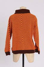 Load image into Gallery viewer, Vintage 1970s original vibrant Playfair orange and brown chevron acrilan jumper S M