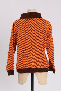 Vintage 1970s original vibrant Playfair orange and brown chevron acrilan jumper S M