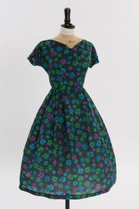 Vintage 1950s original black floral print dress by Sambo fashions UK 8 US 4 S