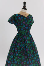 Load image into Gallery viewer, Vintage 1950s original black floral print dress by Sambo fashions UK 8 US 4 S