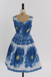 Vintage 1950s original blue floral print cotton dress UK 8 10 US 4 6 S M