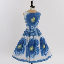 Load image into Gallery viewer, Vintage 1950s original blue floral print cotton dress UK 8 10 US 4 6 S M