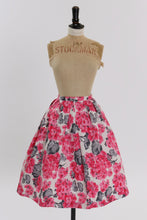 Load image into Gallery viewer, Vintage 1950s 1960s original pink floral print cotton skirt UK 6 8 US 2 4 XS
