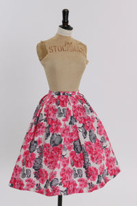 Vintage 1950s 1960s original pink floral print cotton skirt UK 6 8 US 2 4 XS