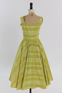 Vintage 1950s style chartreuse and white stripe cotton dress UK 8 10 US 4 6 S