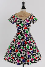 Load image into Gallery viewer, Vintage 1980s original Arnold Scassi floral print silk dress UK 8 US 4 S