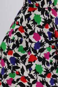Vintage 1980s original Arnold Scassi floral print silk dress UK 8 US 4 S