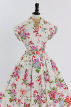 Load image into Gallery viewer, Vintage 1950s original floral print cotton dress w matching belt UK 10 US 6 S M