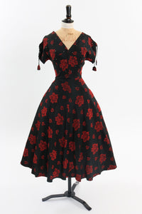 Vintage 1950s original black and red taffeta cocktail dress with rhinestone accents UK 8 US 4 S