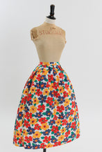 Load image into Gallery viewer, Vintage 1950s original multicolour floral bright cotton skirt UK 6 8 US 2 4 XS