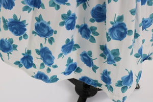 Vintage 1950s original Sambo fashions blue rose print cotton dress w bows UK 8 US 4 S