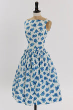 Load image into Gallery viewer, Vintage 1950s original Sambo fashions blue rose print cotton dress w bows UK 8 US 4 S
