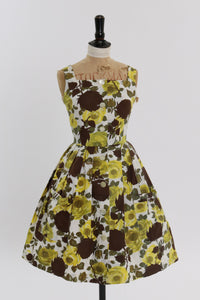 Vintage 1950s original brown and yellow rose floral print cotton dress UK 8 10 US 4 6 S