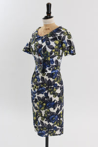 Vintage 1950s original floral wiggle dress and matching bolero UK 4 6 US 2 4 XXS