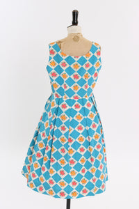Vintage 1950s original blue harlequin and floral print cotton dress UK 14 US 10 M L