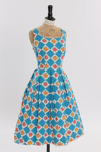 Load image into Gallery viewer, Vintage 1950s original blue harlequin and floral print cotton dress UK 14 US 10 M L