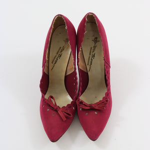 Vintage 1950s original cerise stiletto shoes by Mr Thom approx UK 5