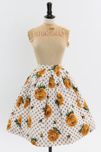 Load image into Gallery viewer, Vintage 1950s original yellow rose print cotton skirt UK 6 US 2 XS