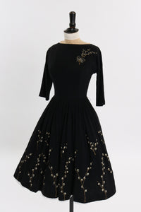 Vintage 1950s original black wool dress with hand painted floral design UK 6 US 2 XS