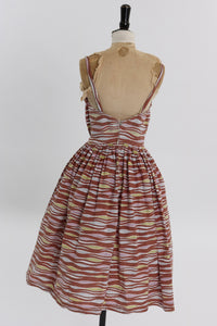 Vintage 1940s 1948 Horrockses Fashions cotton dress with Alastair Morton feather print UK 6 8 US 2 4 XS