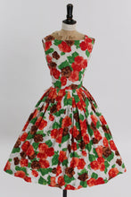 Load image into Gallery viewer, Vintage 1950s original bold red brown and green floral print cotton dress by Duprez UK 8 10 US 4 6 S