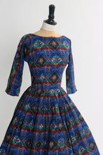 Load image into Gallery viewer, Vintage 1950s original multicoloured cotton novelty print dress UK 6 8 US 2 4 XS