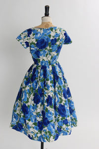 Vintage 1950s original St Michael blue rose print cotton dress UK 6 8 US 2 4 XS S
