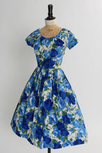 Load image into Gallery viewer, Vintage 1950s original St Michael blue rose print cotton dress UK 6 8 US 2 4 XS S