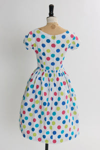 Vintage 1950s original vibrant polka dot cotton dress UK 8 US 4 XS S