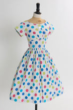 Load image into Gallery viewer, Vintage 1950s original vibrant polka dot cotton dress UK 8 US 4 XS S