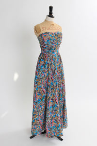Vintage 1950s original full length novelty print dress by Baker Sportswear UK 6 US 2 XS