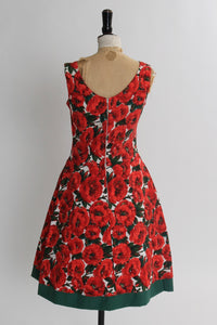 Vintage 1950s original bright red floral print cotton dress by Duprez S M