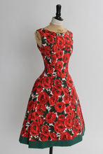 Load image into Gallery viewer, Vintage 1950s original bright red floral print cotton dress by Duprez S M