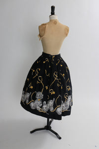 Vintage 1950s original novelty cotton puppy dog border print skirt UK 6 8 US 2 4 XS S