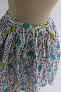 Vintage 1950s 1960s original cotton dot print skirt UK 6 US 2 XS
