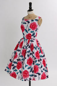 Vintage 1950s original pink floral rose print cotton dress UK 6 8 US 2 4 XS S