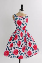 Load image into Gallery viewer, Vintage 1950s original pink floral rose print cotton dress UK 6 8 US 2 4 XS S