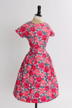 Load image into Gallery viewer, Vintage 1950s original pink rose print cotton dress UK 8 10 12 US 4 6 8 S M