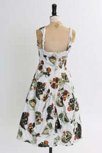 Vintage 1950s original cotton dress novelty rose print by Alma Leigh uK 8 US 4 S
